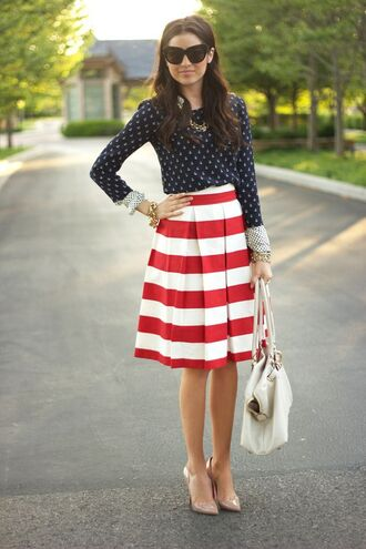 shirt blue white red outfit polka dots blue shirt skirt midi skirt pleated skirt striped skirt pumps louboutin nude pumps bag white bag spring outfits sunglasses black sunglasses the pink peonies blogger