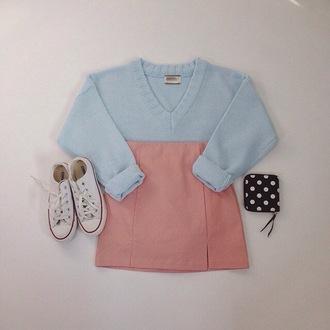 skirt mini skirt sweater pastel pastel pink baby blue