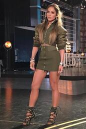 skirt,khaki,olive green,jennifer lopez,instagram,mini skirt,crop tops,sandals,jacket,shoes