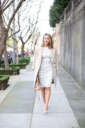 the classy cubicle blogger dress coat shoes bag jewels