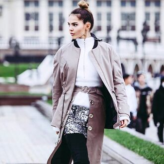jacket nude jacket tumblr top zip white top skirt silver skirt mini skirt sequin skirt grey jacket