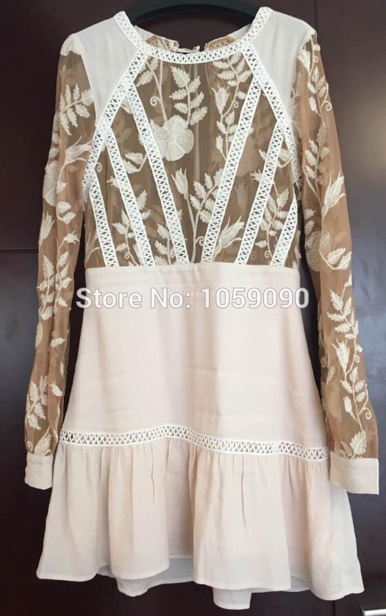 2017 Luxury Woman Fashion Rose Nude Reverie Emelia Lace Embroidery Patchwork Mini Dress Frills hem Long sleeves beach wear-in Dresses from Women's Clothing & Accessories on Aliexpress.com | Alibaba Group
