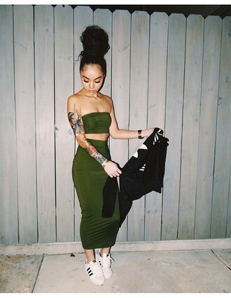 sneakers adidas green dress two piece dress set dress set matching set bodycon dress bodycon skirt maxi skirt bandeau top tubetop two-piece olive green sotrendyish green bandue pencil skirt shoes 2piece dress