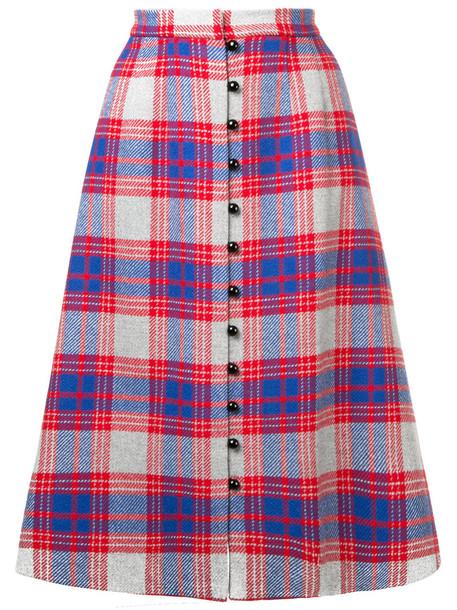 Novis skirt buttoned skirt women plaid print wool red