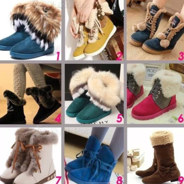 shoes boots cute fluffy navy winter outfits
