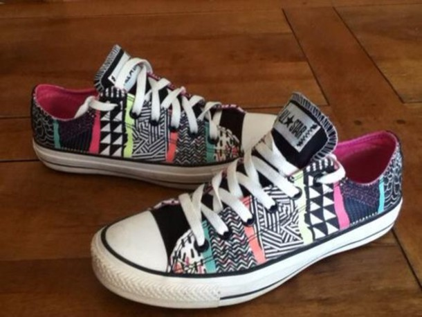 shoes, converse, colorful, beautiful, pattern, aztec, chuck