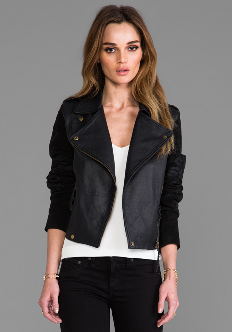TWELFTH STREET BY CYNTHIA VINCENT Talitha Embroidered Suede Sleeve Moto Jacket in Black - Black