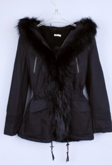 fourrure coat winter coat black coat black