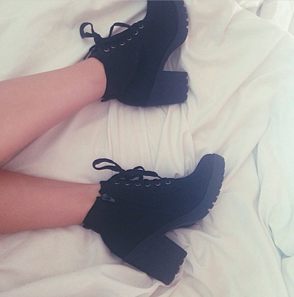 shoes black block heel boots lace-up shoes high heel