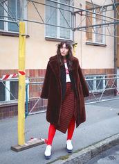 coat,tumblr,fur,fur coat,streetstyle,skirt,asymmetrical,asymmetrical skirt,houndstooth,tights,shoes,white shoes