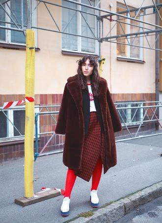 coat tumblr fur fur coat streetstyle skirt asymmetrical asymmetrical skirt houndstooth tights shoes white shoes