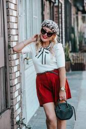thehuntercollector,blogger,sweater,shorts,shoes,bag,jewels,sunglasses,beret,red skirt,fall outfits,round bag
