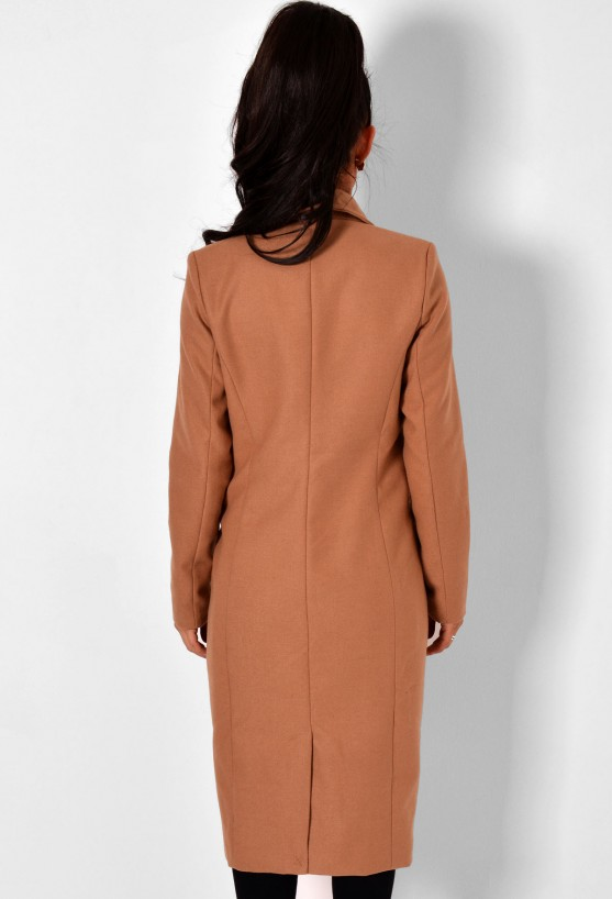 Klein Tan Double Breasted Pocket Coat | Pink Boutique
