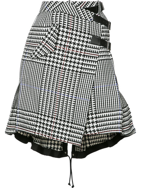 Sacai skirt women cotton black houndstooth