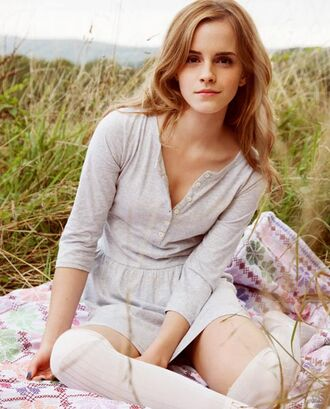 dress plain dress white grey cute dress cute simple dress emma watson knee high socks white knee high socks hermione