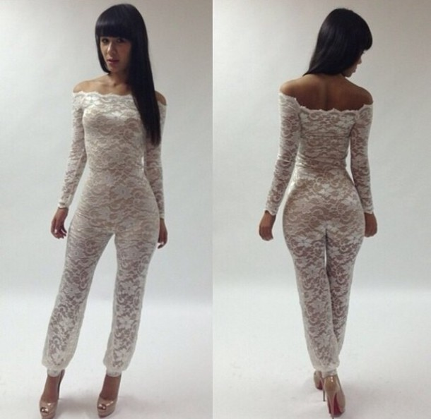 Dress: lace jumpsuit, lace, one piece - Wheretoget