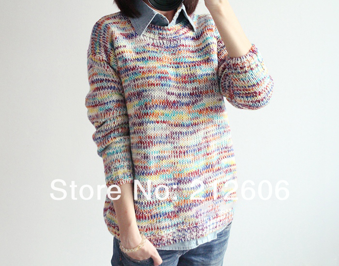 European Style Plus size Sweet Gentlewomen Topshop Vintage Rainbow jumper knitted Autumn  Summer Women Pullovers Brand Sweater-in Pullovers from Apparel & Accessories on Aliexpress.com