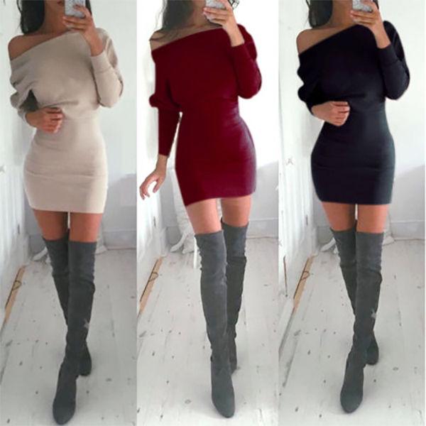 Sexy Ladies Off Shoulder Long Sleeve Jumper Bodycon Shirt Slim Mini Dress