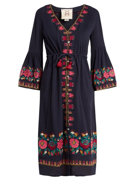 Figue - Junie Floral Embroidered Dress - Womens - Navy Multi