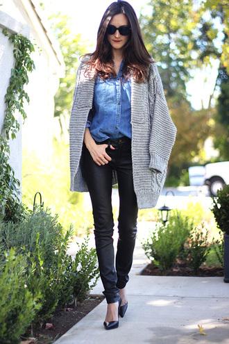 frankie hearts fashion blogger knitted cardigan denim shirt sunglasses