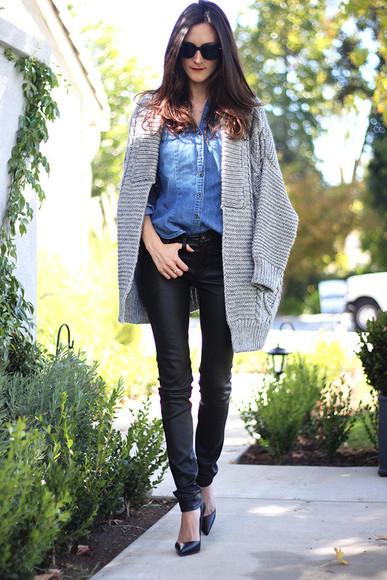 frankie hearts fashion blogger sunglasses knitted cardigan denim shirt