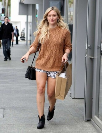 ankle boots hilary duff rust cable knit