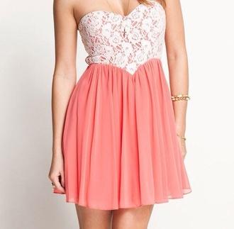 dress floral lace peach