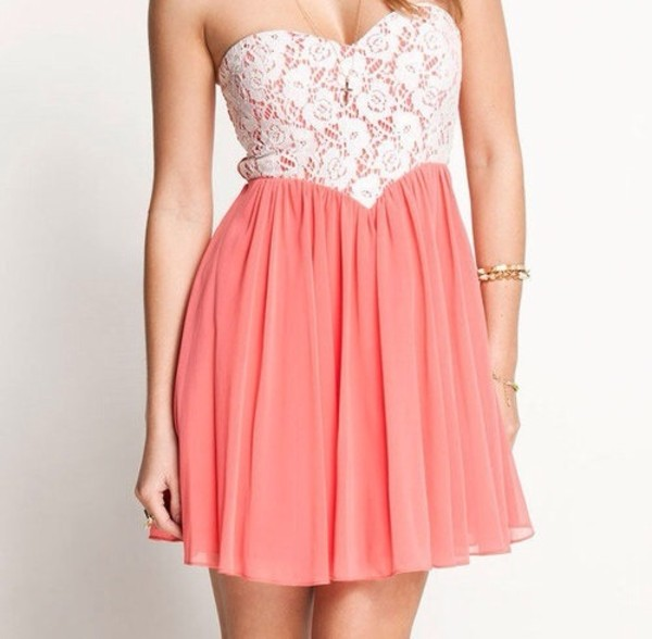 dress floral lace peach