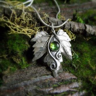 jewels leaf green leaf necklace fairy necklace green gem