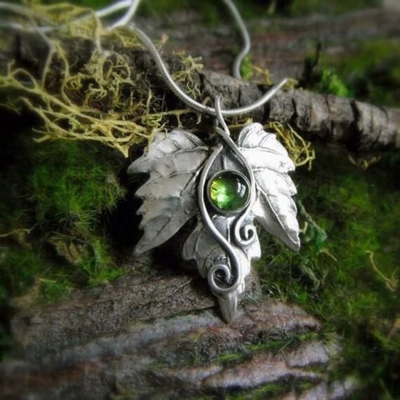 green leaf jewels leaf necklace fairy necklace green gem