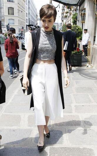 pants white pants wide-leg pants lily collins pumps vest coat