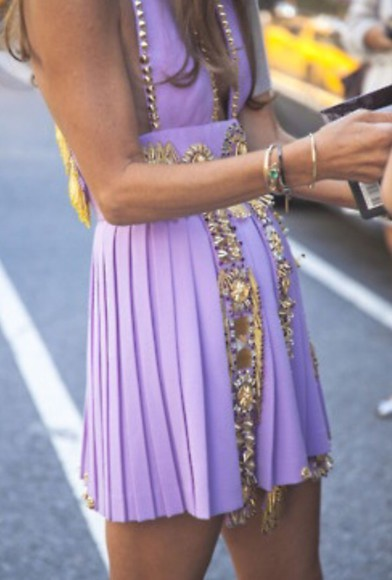dress purple dress gold embellishments