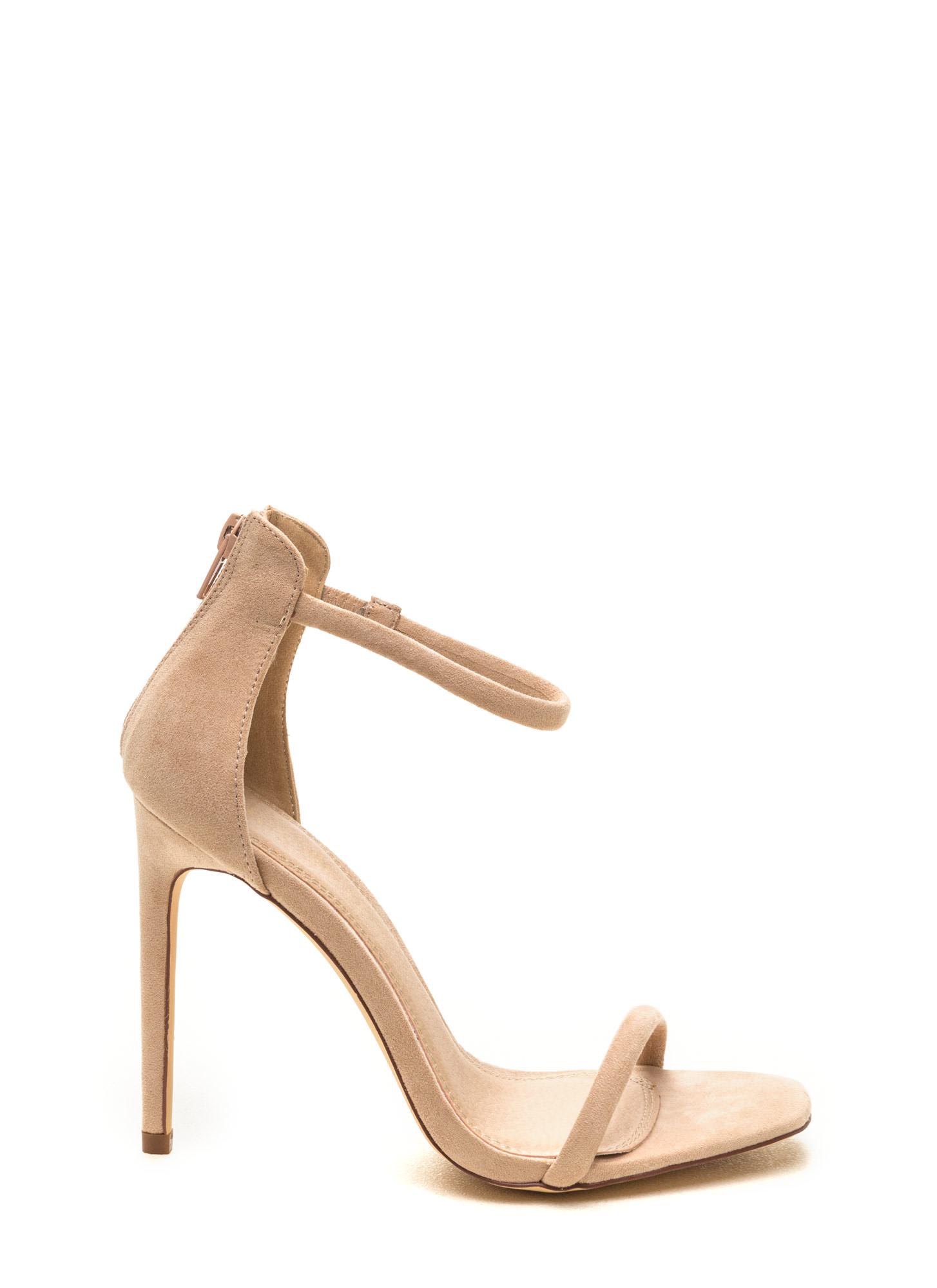 fab146f247 Just One Faux Suede Ankle Strap Heels PURPLE DUSTYPINK NUDE ...