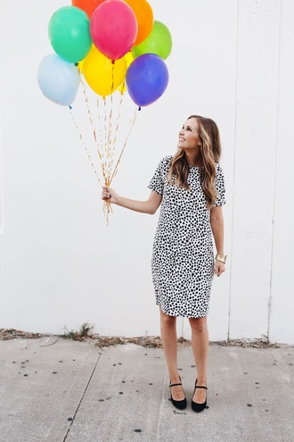 blogger dress shoes bag black and white polka dots black flats