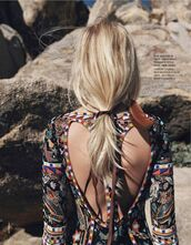 dress,boho,tribal pattern,pattern,bohemian dress,blonde hair,ponytail,emilio pucci,model,editorial,hair/makeup inspo,summer beauty,colorful,hippie,wonderful,lovely