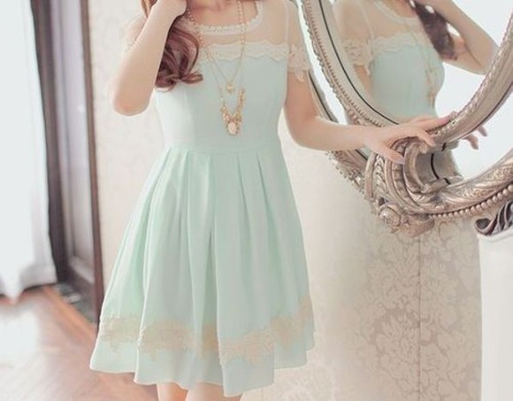korea dress blue koreanfashion gold necklace kpop lace