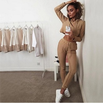 jumpsuit girl girly girly wishlist crop crop tops cropped brown nude joggers joggers pants matching set two-piece