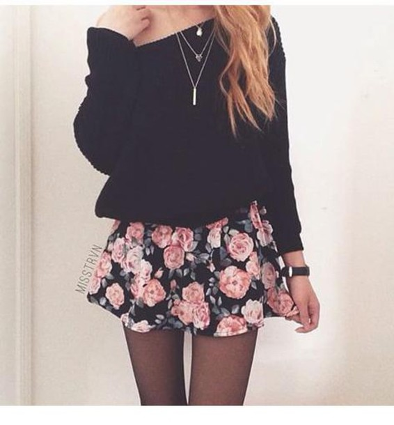 9966b46d4a blouse black blouse t-shirt skirt rose pink black spring summer short  floral leaves skater