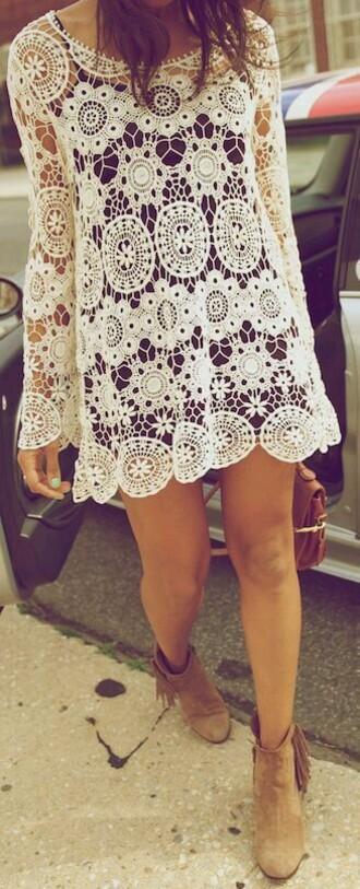 dress lace dress white short dress