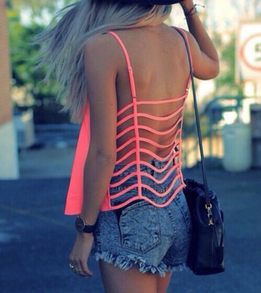 bright t-shirt top neon orange caged tank top pink blouse shirt nice back top cut-out