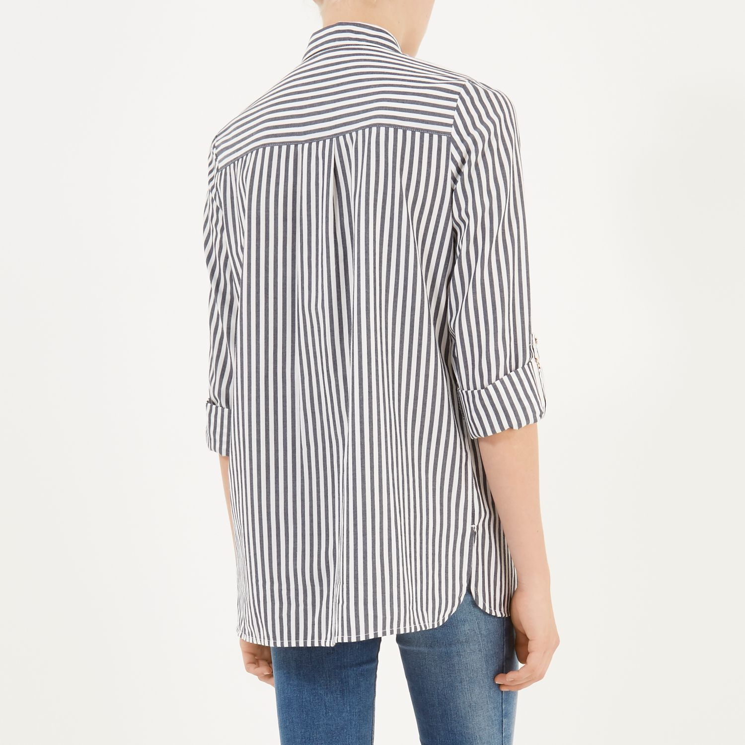 Blue stripe poplin shirt