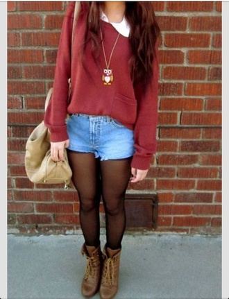 baggy sweaters peter pan collar shorts tights boots bag necklace hipster