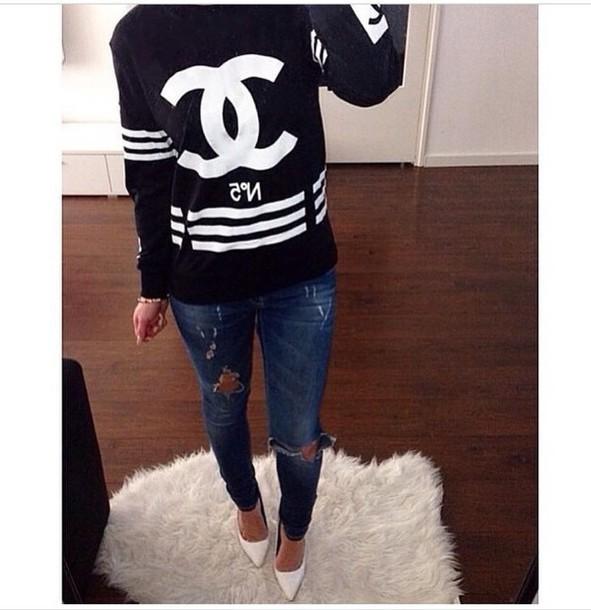 sweater black sweater chanel sweater