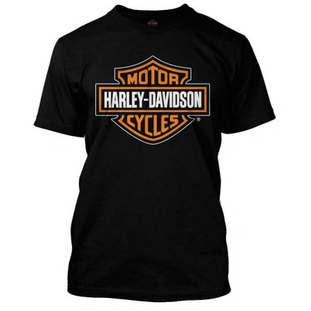 59b6d9fd Harley-Davidson Men's Orange Bar & Shield Black T-Shirt 30290591 ...