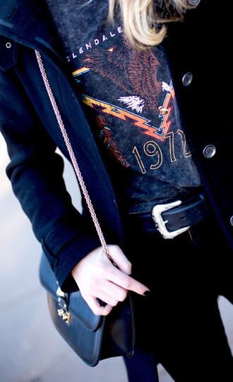 krystal schlegel blogger t-shirt shirt jeans jacket shoes bag belt top