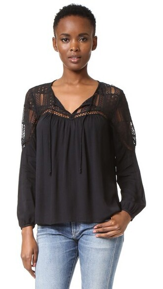 top peasant top lace black