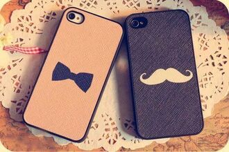jewels iphone cover iphone case iphone 4s case iphone cover lady hair bow bows cute mustache pink boyish phone cover bowtie moustache