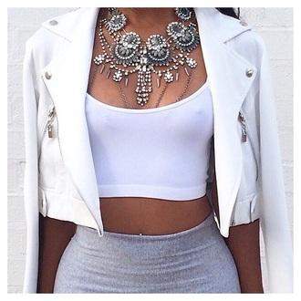 jacket white chain necklace moto jacket