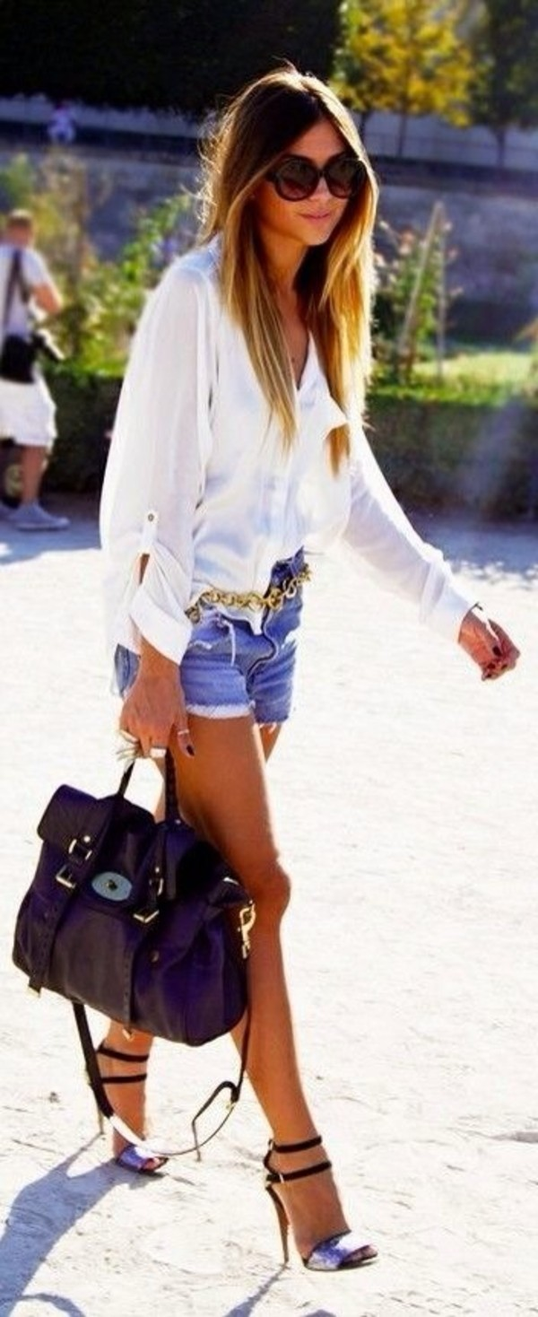 shoes metal strap sandal belt bag jeans clothes shirt blouse shorts white blue heels purse sunglasses black chiffon chiffon blouse white shirt ripped shorts ripped jeans