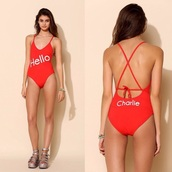 swimwear,bikini,high waisted,strappy bikini,red,lingerie,one piece swimsuit,monokini